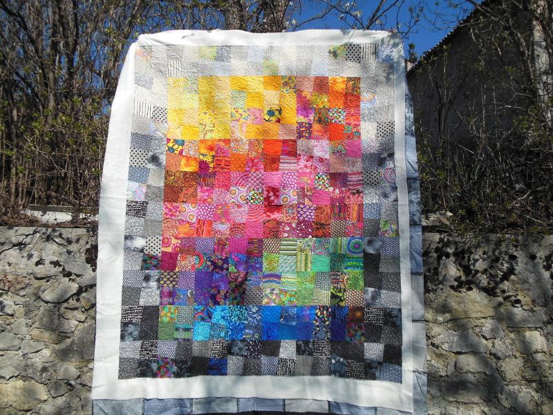 """Panneau-mural-""""Sunshine""""-Motif-Quilting-DOUBLE BOUCLE-fil-multicolore"""