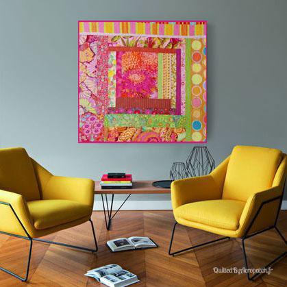 Centre-de-table-Peps-Motif-Quilting-Etoile_filante-fil-multicolore-en panneau mural