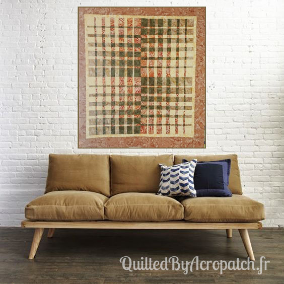 Panneau-Mural-Convergence-Motif-Quilting-Bourgeon-Fil-uni-couleur-citrouille-110x120cm-Au mur