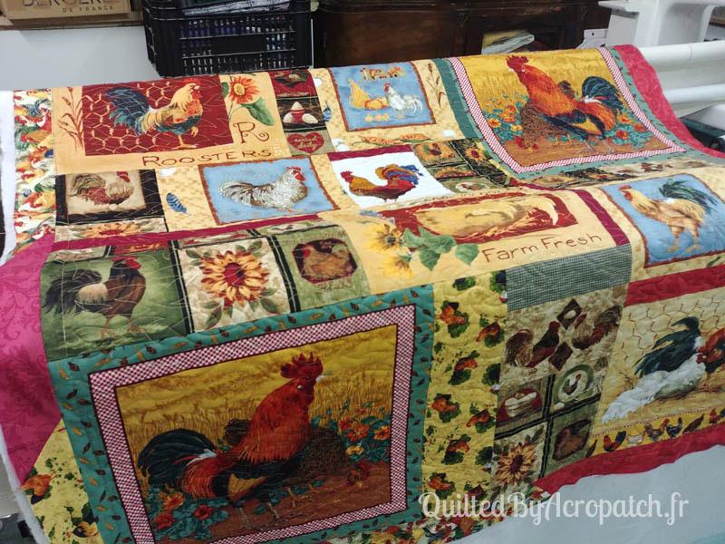 les_poulettes_ déconfinées-Motif-Quilting-Flamme-Fil-multicolore-117x117cm-face 2