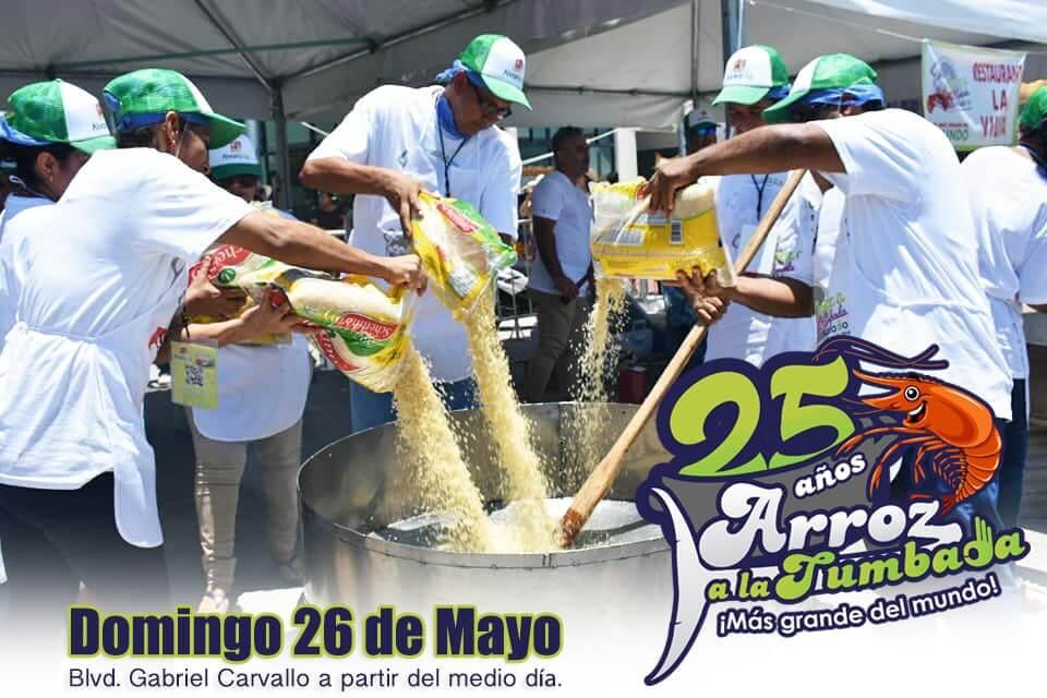 El Ayuntamiento de Alvarado invita al evento 'El arroz a la tumbada más grande del mundo, 25 años', el próximo 26 de mayo, en el Malecón Gabriel Carvallo, a partir del medio día.