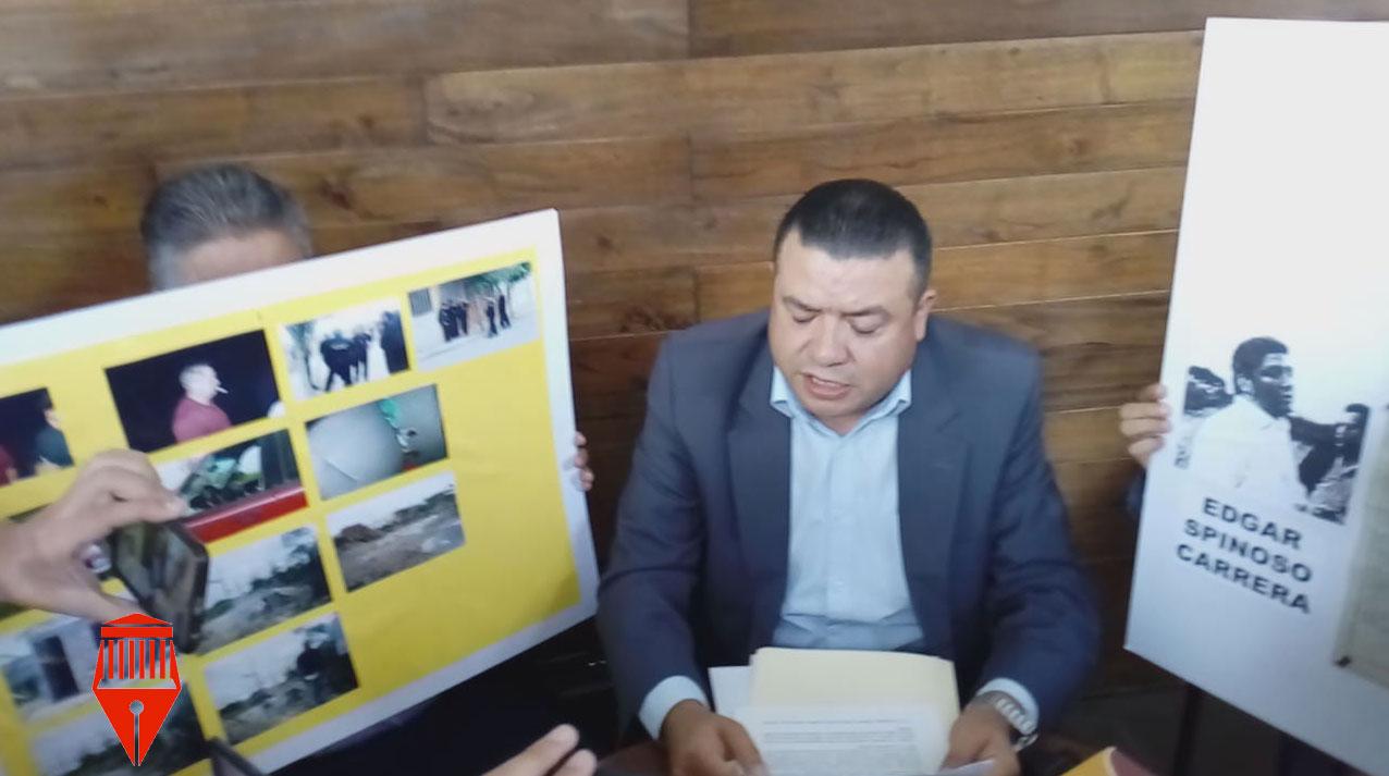El abogado Adolfo García Méndez acusó a Édgar y Alfredo Spinoso Carrera de despojar de manera ilegal a Julio Castro de un terreno de 25 mil 200 metros cuadrados en la entrada del fraccionamiento Bugambilias en Emiliano Zapata.