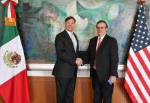 El canciller mexicano, Marcelo Ebrard se reunió con el embajador de Estados Unidos en México, Christopher Landau, para la entrega de sus cartas credenciales.