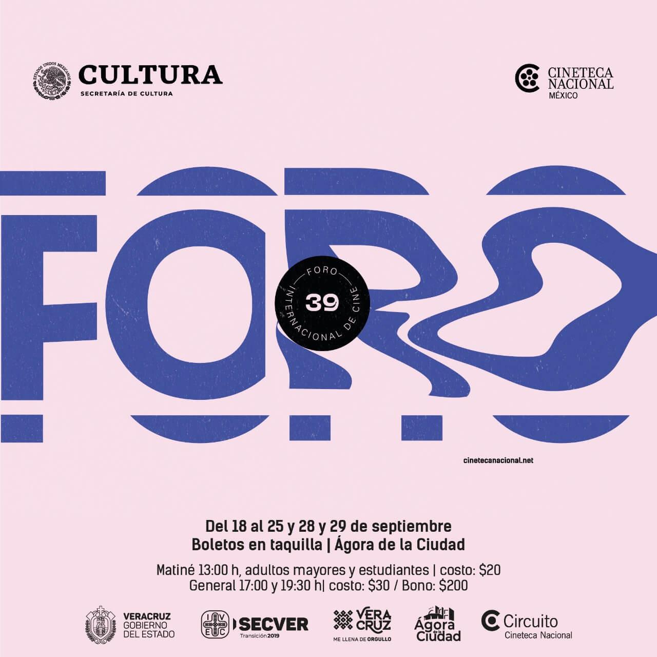 El Instituto Veracruzano de la Cultura (IVEC) presenta el Foro Internacional de la Cineteca Nacional del 18 al 25 y 28 y 29 de septiembre, con 10 filmes en triple función a las 13:00, 17:00 y 19:30 horas, en el Ágora de la Ciudad.