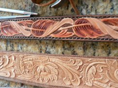 Tooled leather belt@acrossleather.com