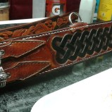 """Medieval designed leather dog collar. It's 3"""" wide, hand stitched, hand cut, custom tooled,airbrushed and hand painted."""