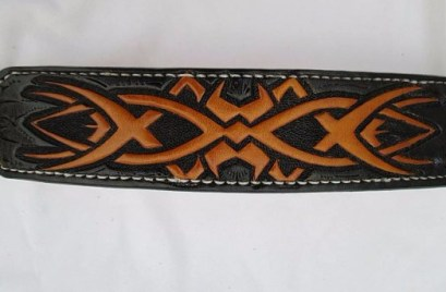 Large leather dog collar. Celtic design. Finished in black and yellow