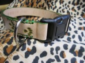 Non adjustable leather dog collar airbrushed green custom tooled paw prints and Mr. Gibbs stamped on this cool collar.