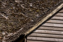 Shingled roof of an old Chiloen house.