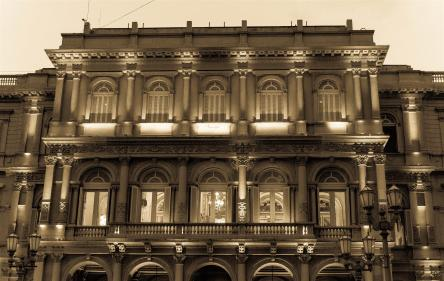 The side of Casa Rosada (the pink palace) and the balcony where Evita and many other politicians preached from