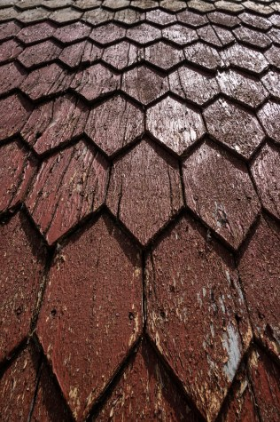 Wood shingles, used to cover the old houses