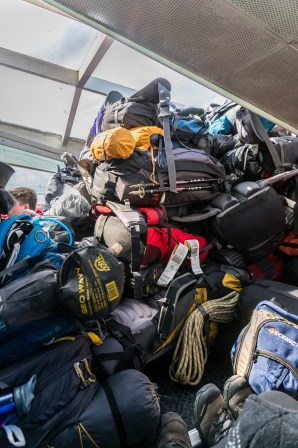 The luggage is efficiently stowed in the catamaran