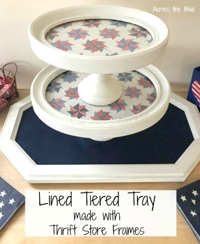 Patriotic Tiered Tray Made With Thrift Store Frames