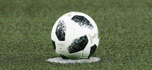 soccer ball at midfield
