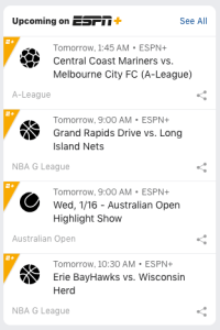 ESPN+ watch schedule