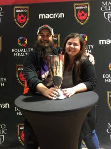 Phil Kennedy and Heather with USL Western Conference Trophy