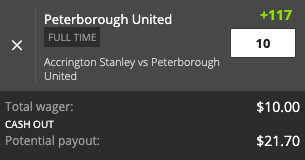 Peterborough United payout