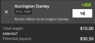 Accrington Stanley payout