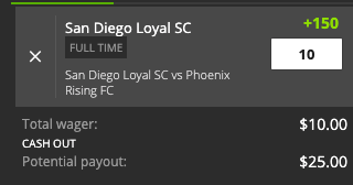 San Diego Win payout