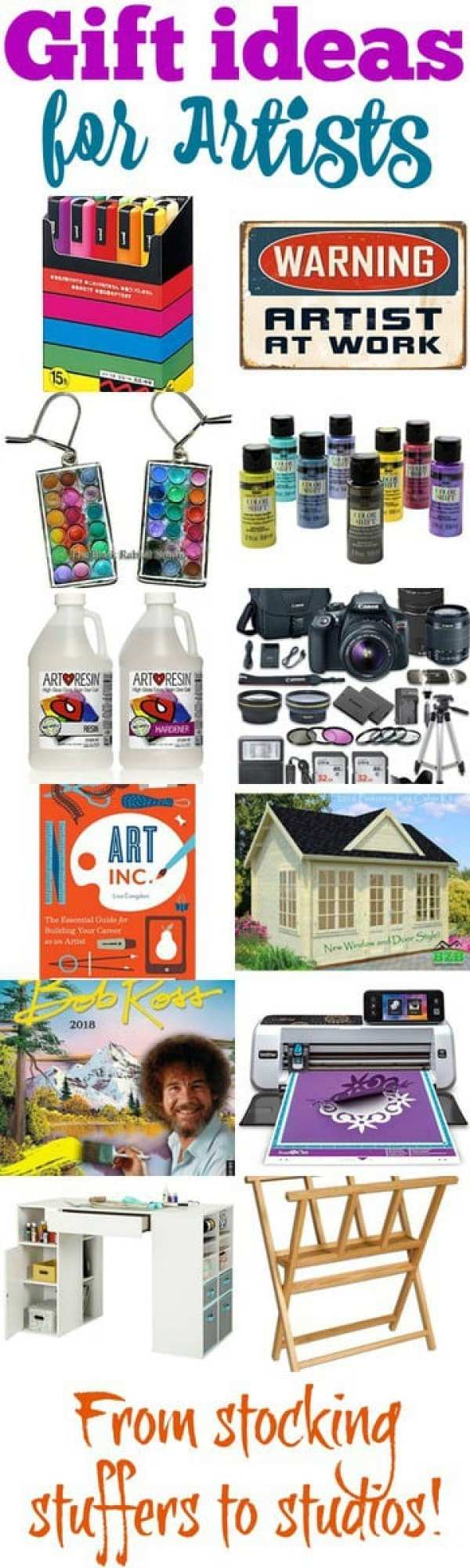Gift ideas for artists. From stocking stuffers to studios and everything in between. Lots of fun and practical gift ideas for the artist in you or in your life