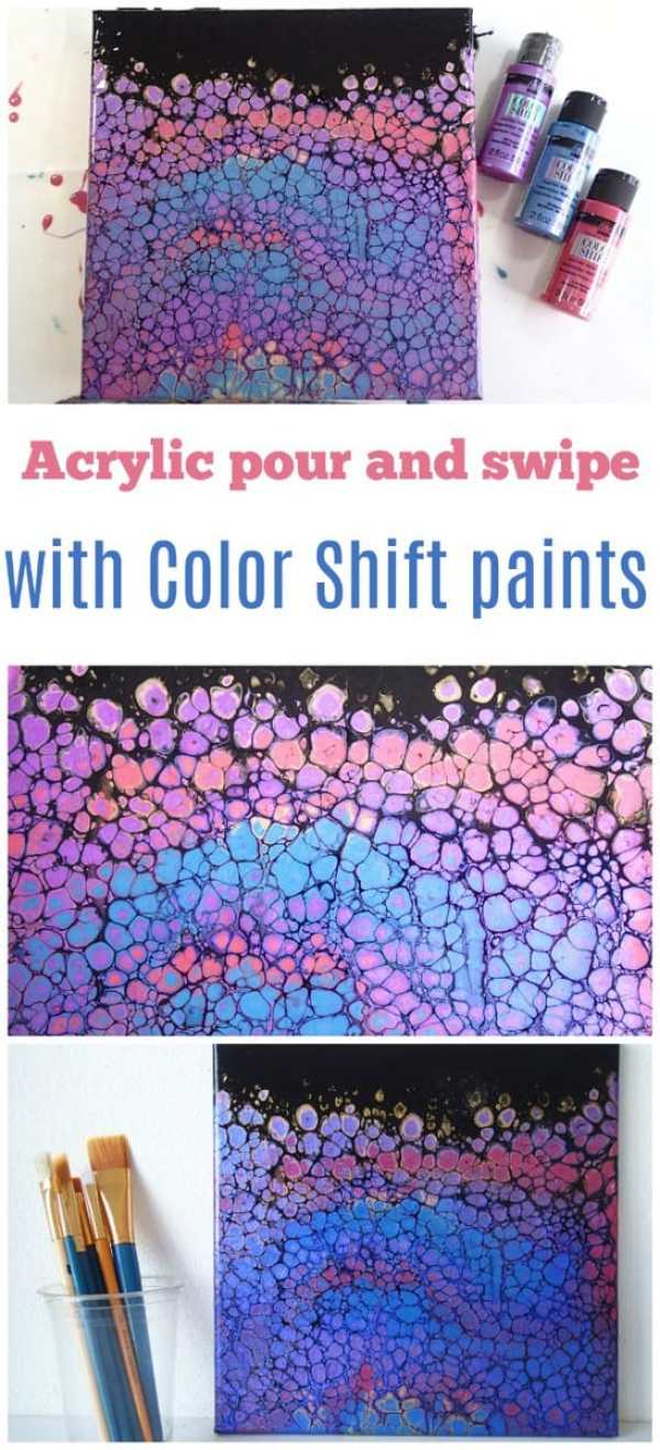 Swiping acrylic paints. An acrylic pour and swiping painting tutorial and video using FolkArt Color Shift Paints.