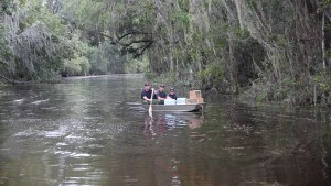 Deputies delivering supplies by boat following hurricane flooding