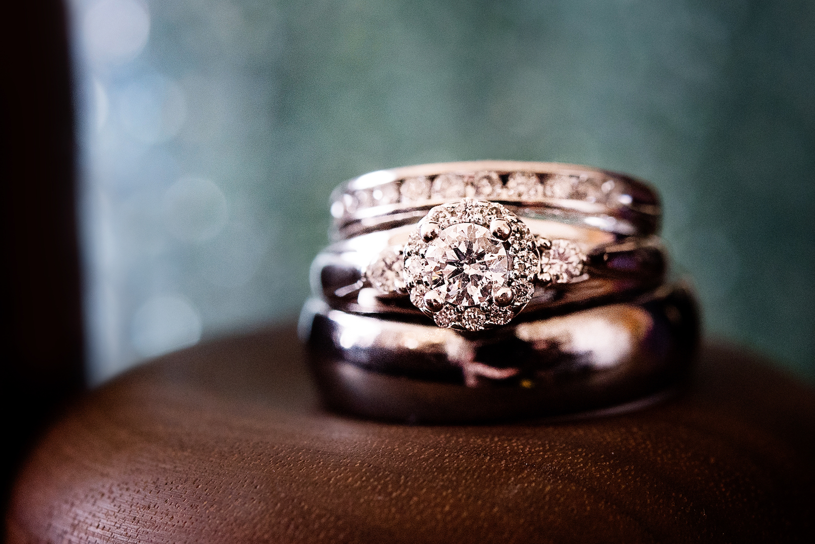 A Beautiful Diamond Wedding Ring Set Photographed by Edmonton Wedding Photographer Amanda Schulz of ACS Studios