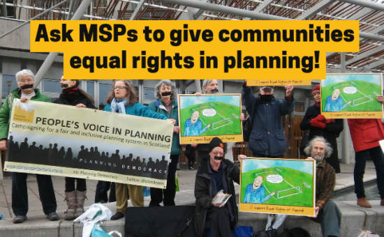 Communities faced off against Developers in a rigged game of football outside the Scottish Parliament.