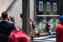Kacy Catanzaro of 'American Ninja Warrior' runs through the Assassin's Creed parkour course.