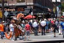 A costumed character makes his way across the Gaslamp Quarter in San Diego.