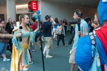 SyFy prepares an interview with a cosplayer dressed as Firiona Vie from 'EverQuest.'