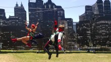 Cosplayers zip through Gotham City in Fox's 'Gotham' zip line outside of the convention center.