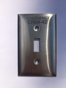 1-gang engraved stainless steel device cover switch plate with black permanent markings