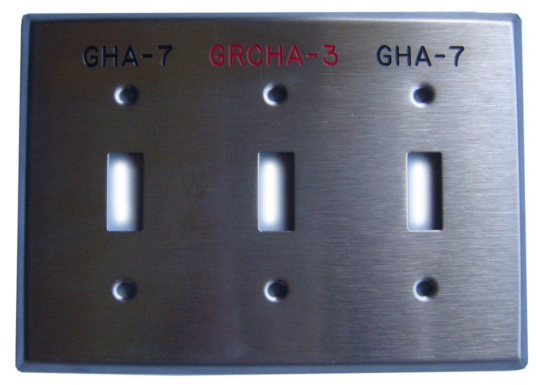 switchplates, wall plates and device covers engraved