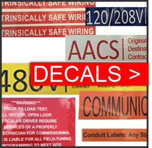 Decals for electrical and construction applications are made with adhesive for longevity and are printed on premium fade-resistant vinyl. Multiple sizes and colors.