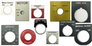 Industrial signage: engraved Motor Controls and Push Button Legends