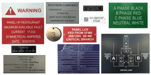 Industrial signage: engraved signs labels and tags