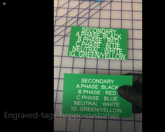 finished engraved tags dimension and text size