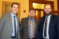 Pictured left to right: Evan Smith, Legislative Assistant, Curt Kohlwes, Executive Legislative Assistant and Sen. Marko Liias 21st District-Lynnwood.