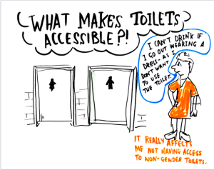 "What makes toilets accessible?  ""I cant drink when I go out wearing a dress, as I dont want to have to use the toilet. It really affects me not having access to non gender toilets"""