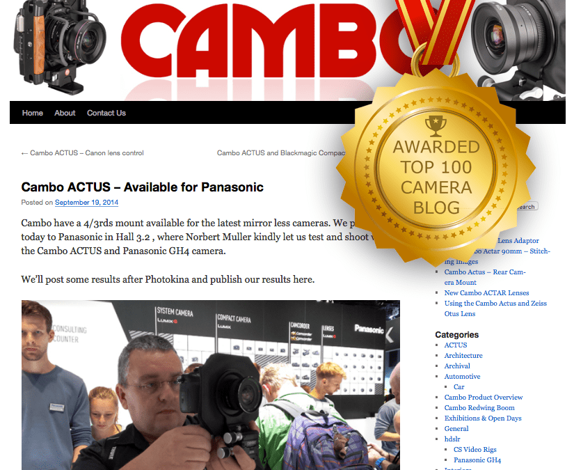 Top 100 Camera Blog; We won an award and we'd like to tell you about it