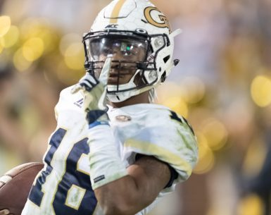 Taquon Marshall gives the shush after scoring a Touchdown for Georgia Tech Yellow Jackets