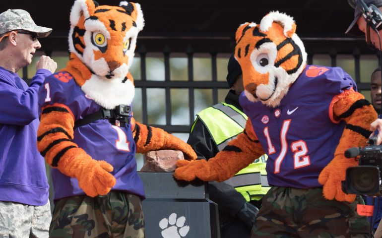 Clemson Tiger Mascots bring the excitement