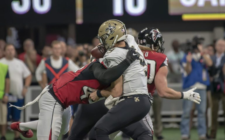 Vic Beasley sacks Drew Brees