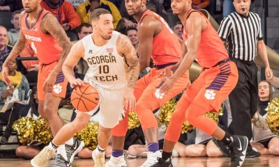 ose Alverado Georgia Tech Basketball dribbles past defenders