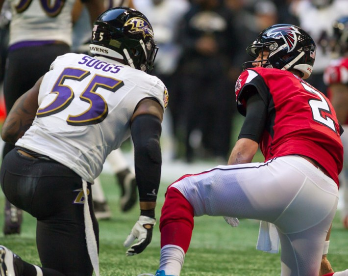 Terrell Suggs makes a tackle