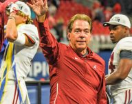 Nick Saban on stage at the SEC Championship Game