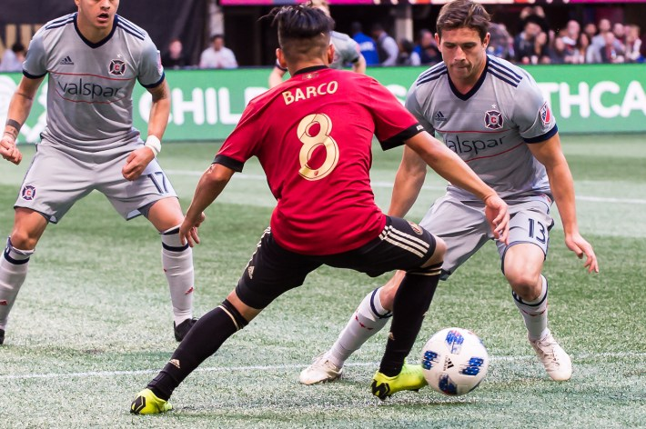 Barco looks to steal the ball during action against Chicago