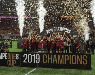 Atlanta United celebrates the 2019 Campeones Cup after defeating Liga MX Club America