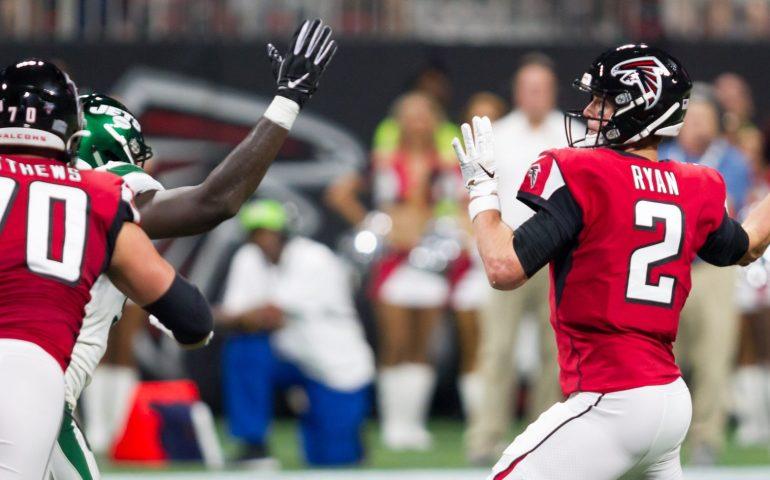 Matt Ryan throws a pass against the New York Jets in preseason football #NFL, #dirtybirds, #falcons, #inbrotherhood, #atlantafalcons, #ATL, #ASN